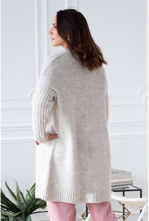 tył beżowy melanż sweterek  xxl