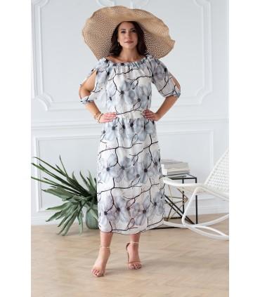 Śmietankowa sukienka w niebieskie kwiaty - JEAN