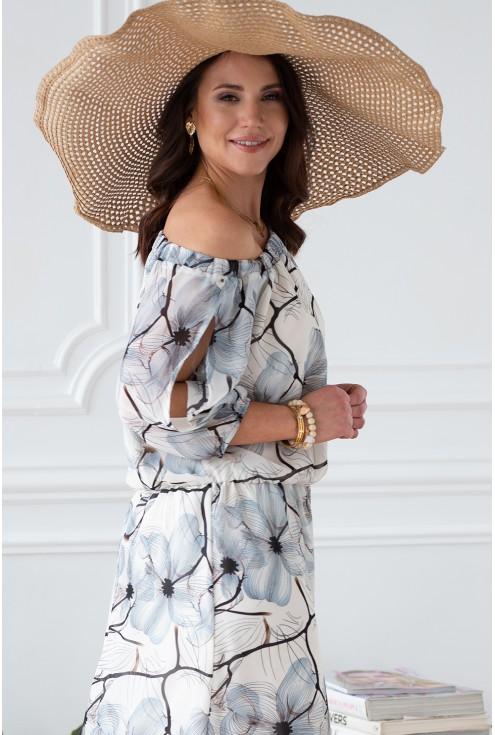 odsłonięte ramie  sukienka dłuższy rękawek z rozcięciami xxl
