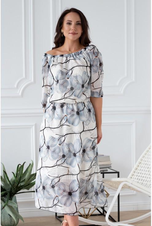 plus size sukienka w kwiaty pęknięcia na rękawach xlka