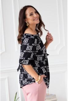 czarna bluzka z białymi napisami fashion NINA