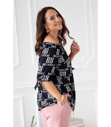 Czarna bluzka hiszpanka w białe napisy fashion -  NINA