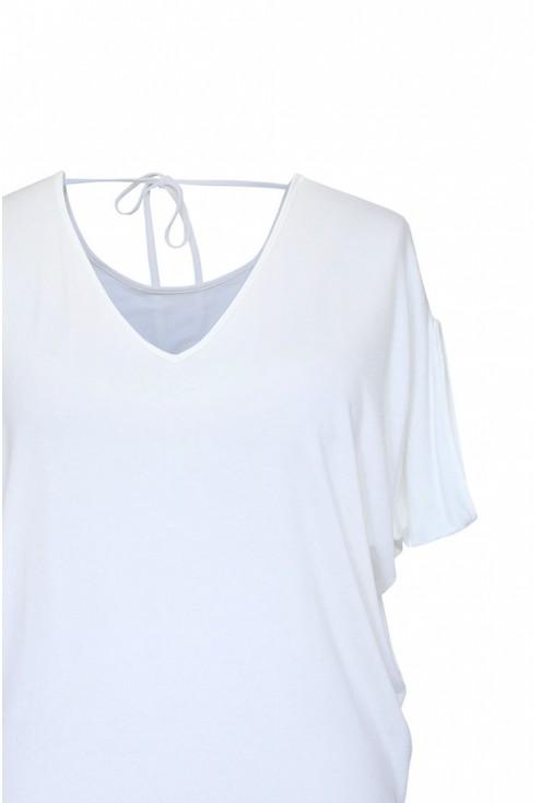biała bluzka wiązana na plecach xlka