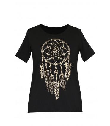 Czarna bluzka z krótkim rękawem - łapacz snów - JENA