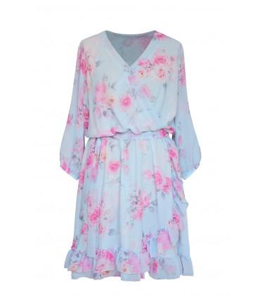 Błękitna sukienka w róże z kopertowym dekoltem - ADELITA