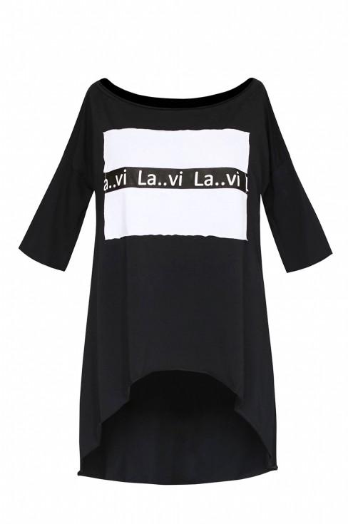 czarna tunika z białym xxl