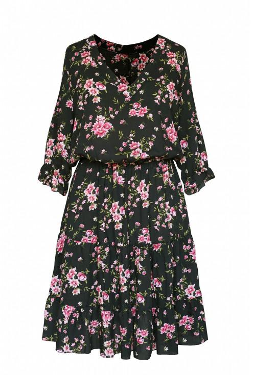 czarna sukienka w różowe różyczki xl