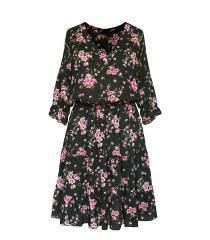 Czarna sukienka z falbanami - kwiatowy wzór - Matilde