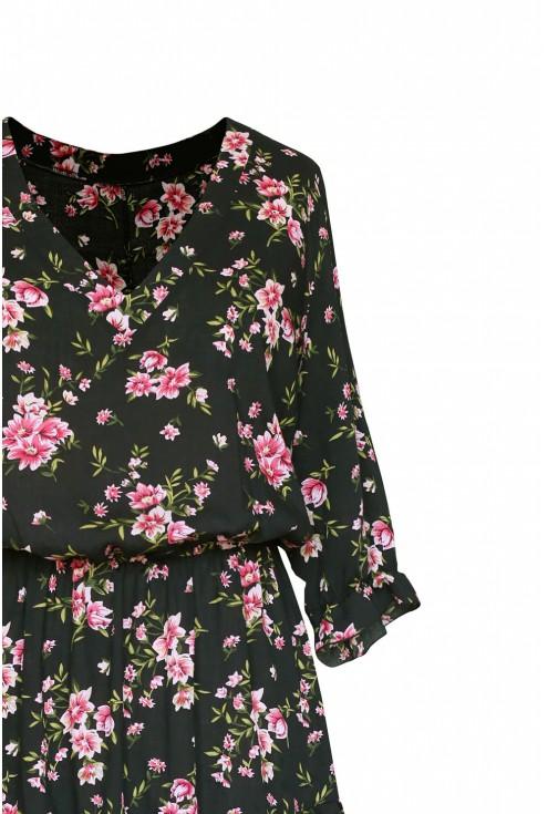 3/4 rękawek sukienka w różyczki kolor czarny