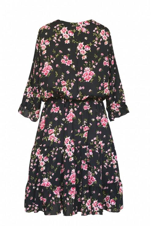 tył czarnej sukienki w różyczki xxl