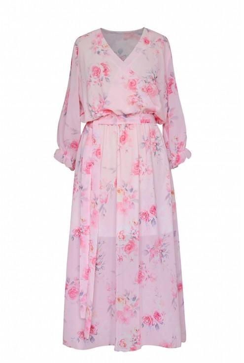 pudrowo różowa sukienka maxi