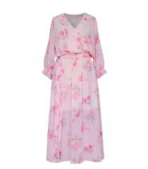 Pudrowo-różowa sukienka maxi w róże - VALENTINA