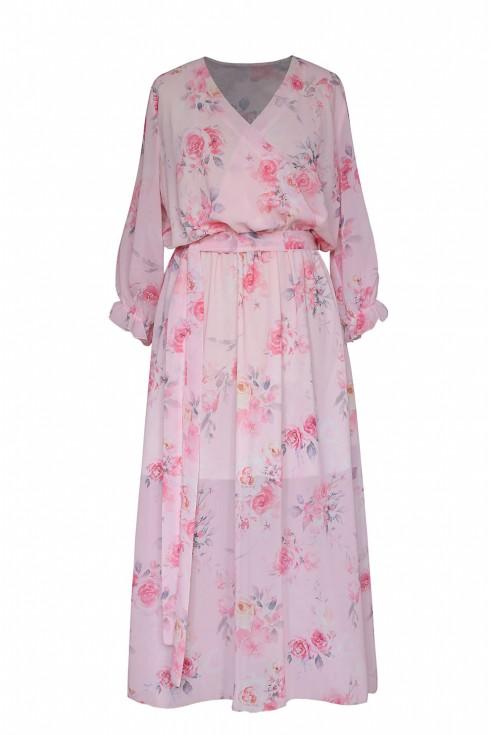 maxi sukienka w róże zwiewna