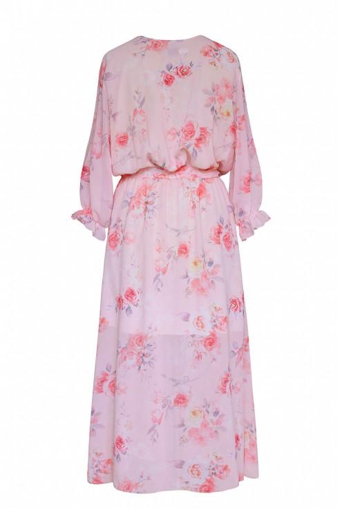 tył różowej sukienki w róże xl