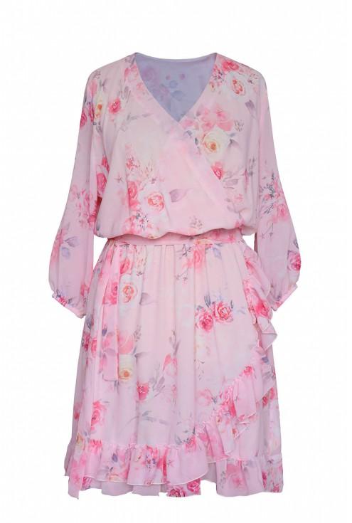 zwiewna sukienka w róże kolor różowy
