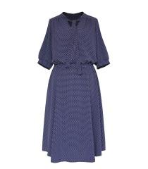Granatowa sukienka z wzorem w drobne groszki - SAMANTHA