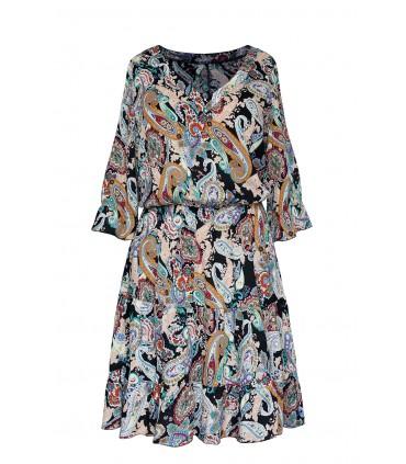 Kolorowa sukienka z falbanami - orientalny wzór - Matilde