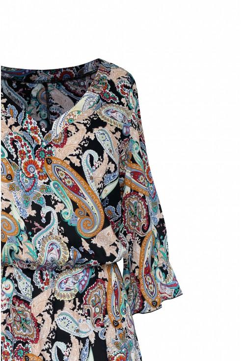 dekolt w serek orientalny wzór sukienka matilde
