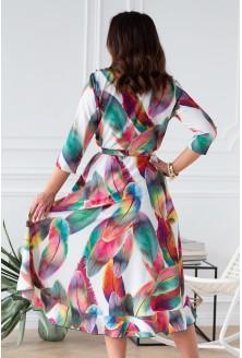 asymetryczna sukienka plus size w kolorowe piórka xl