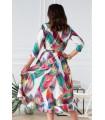 Asymetryczna sukienka z falbanką kolorowe pióra - LILIANE
