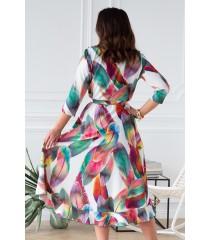 Asymetryczna sukienka plus size z falbanką kolorowe pióra - LILIANE