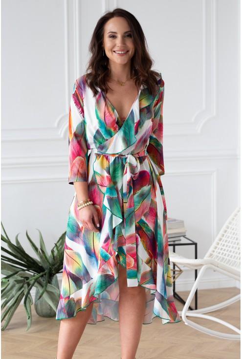 kolorowe piórka sukienka xlka