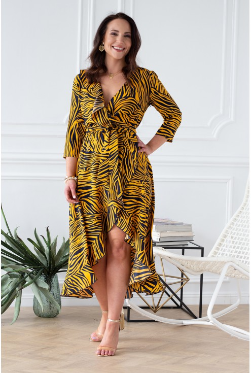 sukienka w pomarańczową zebrę xxl