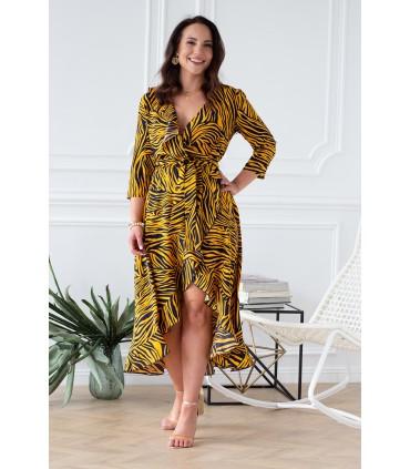 Asymetryczna sukienka z falbanką pomarańczowa zebra - LILIANE