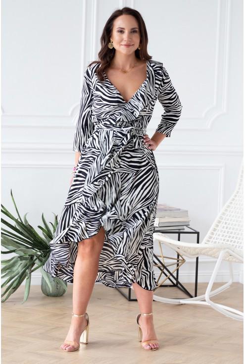 sukienka biało czarna zebra xl
