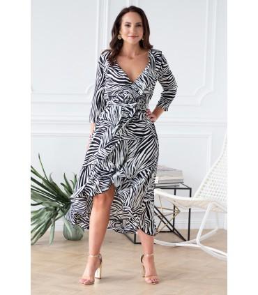 Asymetryczna sukienka z falbanką motyw zebra - LILIANE