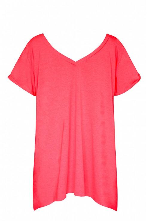 Łososiowy neon bluzka/tunika z dekoltem w serek - NELA