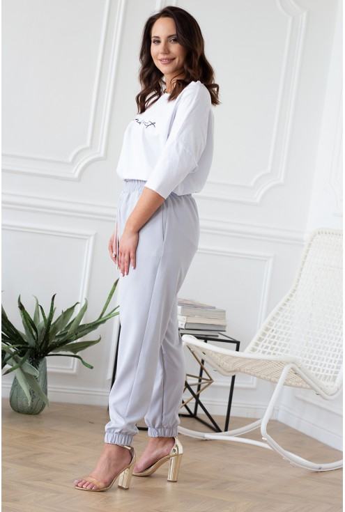 szare spodnie ze ściągaczami eleganckie xxl