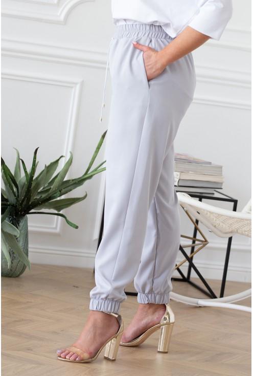 szare eleganckie spodnie ze ściągaczami i kieszeniami xxl