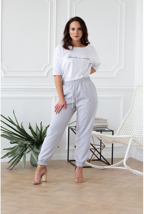 szare spodnie eleganckie idealne do szpilek plus size