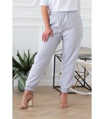 Szare eleganckie spodnie ze ściągaczami - VIVIANE