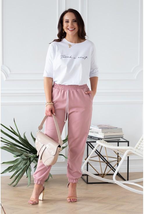 różowe eleganckie spodnie ze ściągaczami xlka