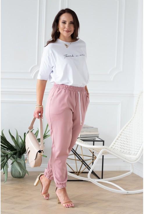 różowe spodnie plus size duże rozmiary