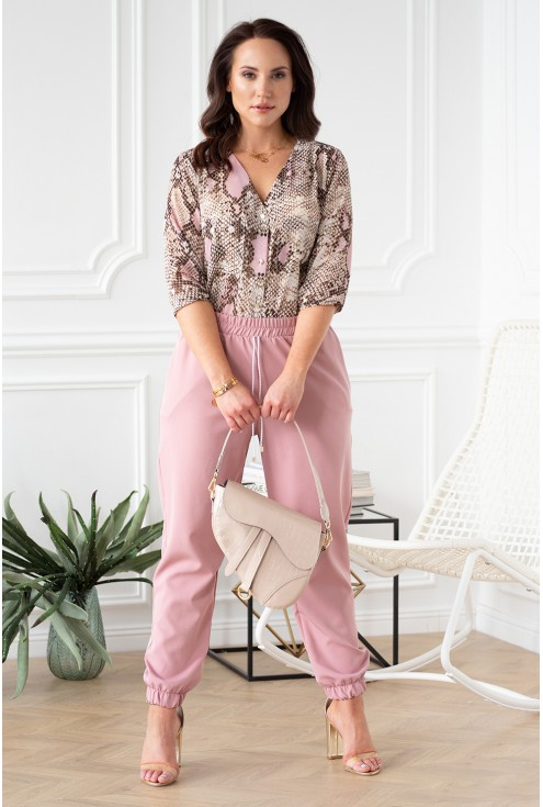 elegancki zestaw spodnie różowe viviane