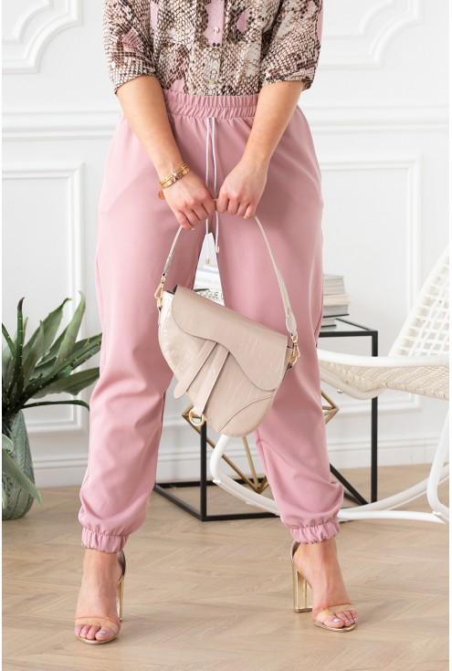 różowe spodnie ze ściągaczami xxl