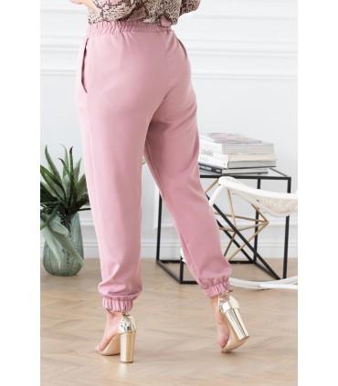 Różowe eleganckie spodnie ze ściągaczami - VIVIANE