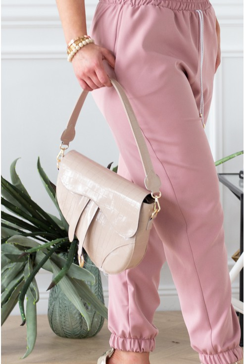 eleganckie spodnie viviane i torebka beżowa