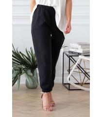 Czarne eleganckie spodnie ze ściągaczami - VIVIANE
