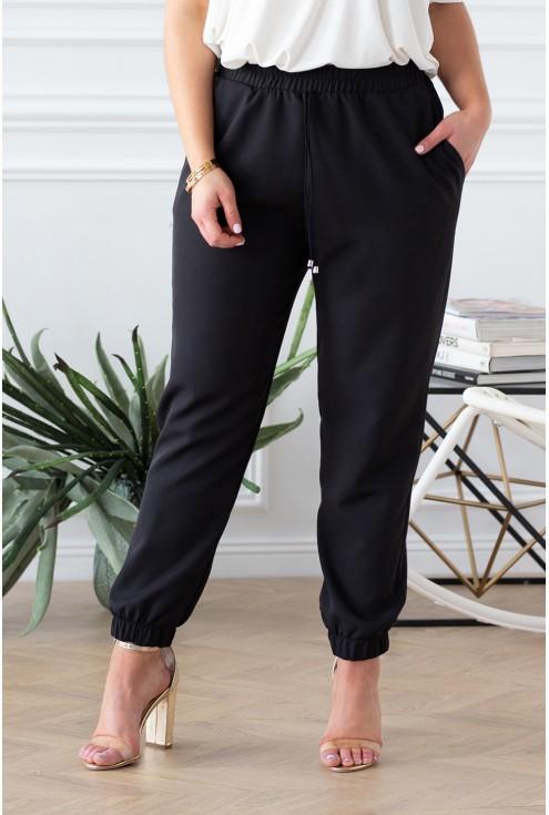 czarne eleganckie spodnie ze ściagaczami