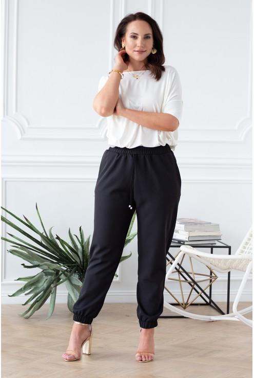 czarne spodnie ze ściągaczem kobiece klasyczne xlka