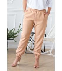 Piaskowe eleganckie spodnie ze ściągaczami - VIVIANE