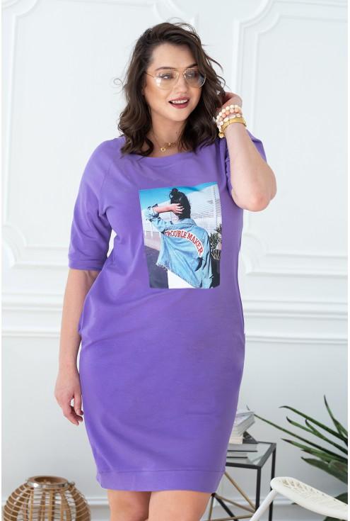 Liliowa sukienka dresowa xxl XL-ka