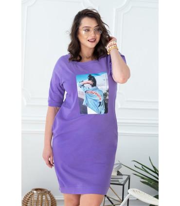 Liliowa dresowa sukienka z nadrukiem - ELISE