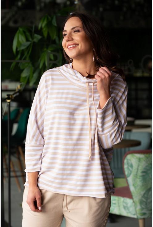 bluza w paski bezowe ściągany golf plus size