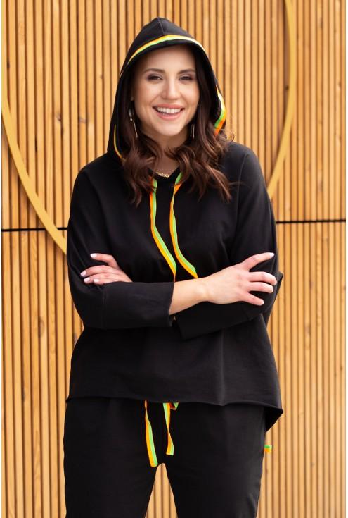 zestaw czarny dres neonowe ozdoby plus size