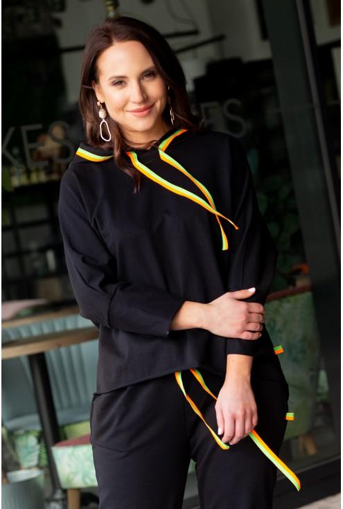 Duże rozmiary dres komplet czarny  kolorowe neonowe troczki xxxl